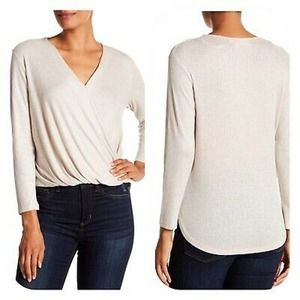 EVERLEIGH Wrap-Front Long Sleeve Knit Top Oatmeal